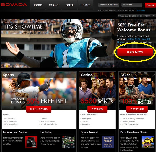 How to Bet on Football at Bovada - Step 1