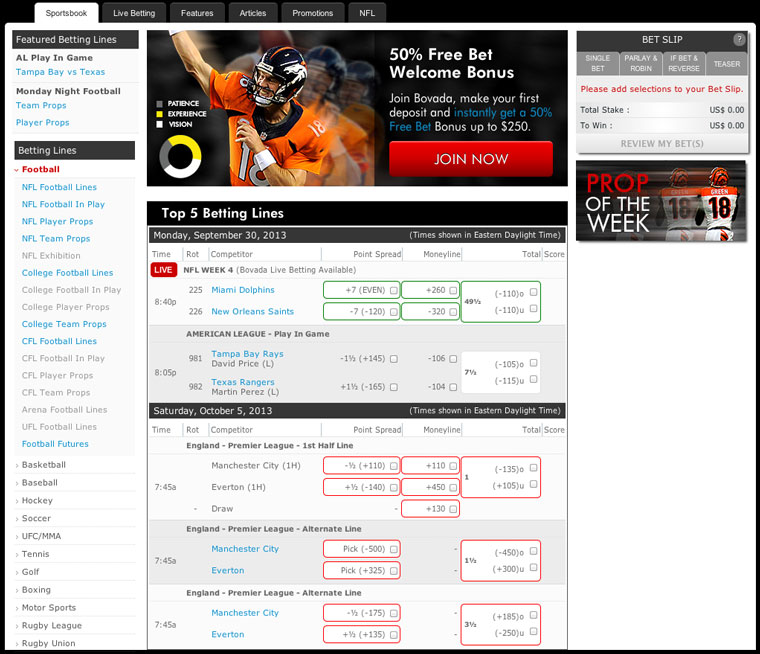 sportsbook online betting early nfl games